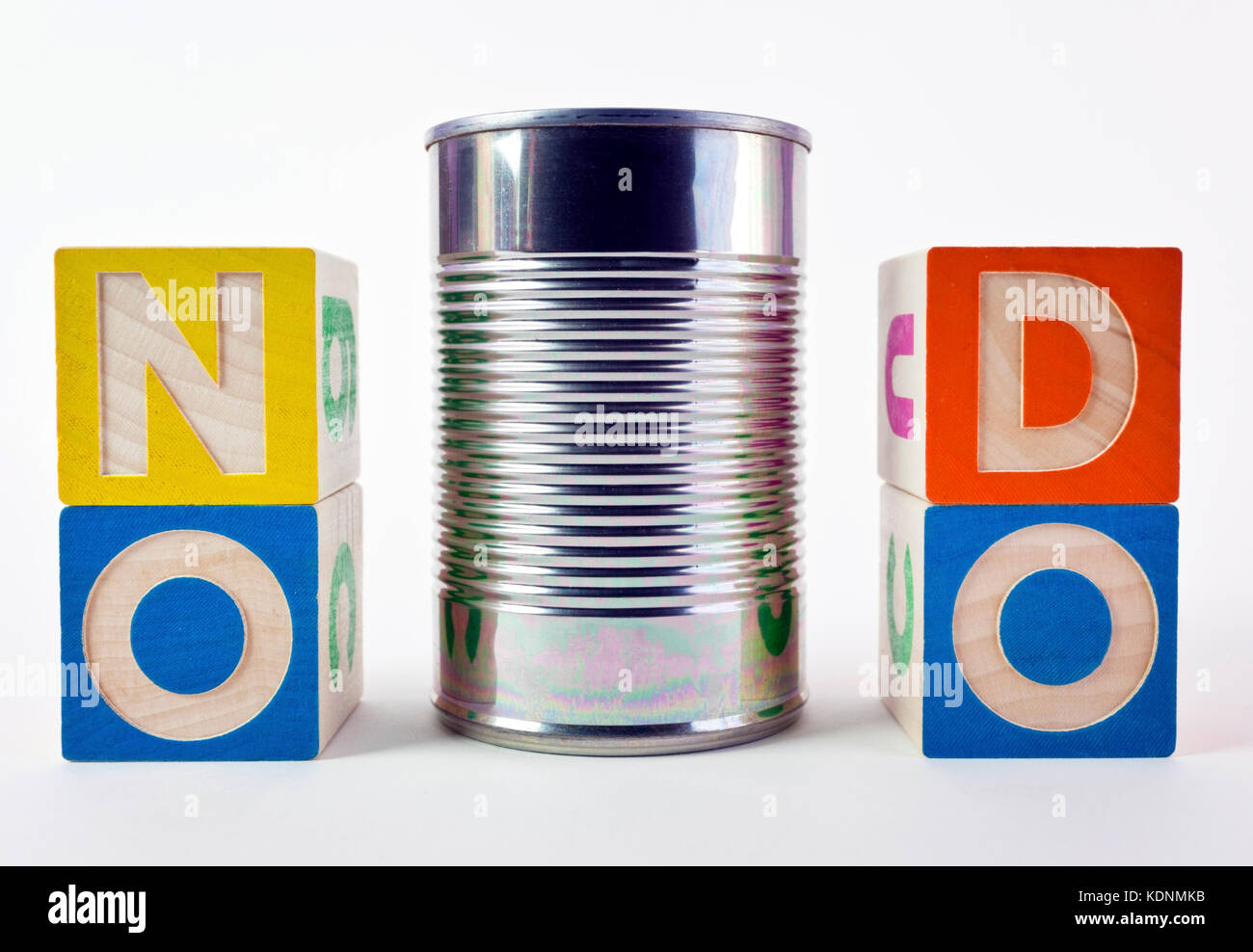 NO CAN DO saying presented as a visual pun with toy blocks and tin can. Fun. Humor. - Stock Image