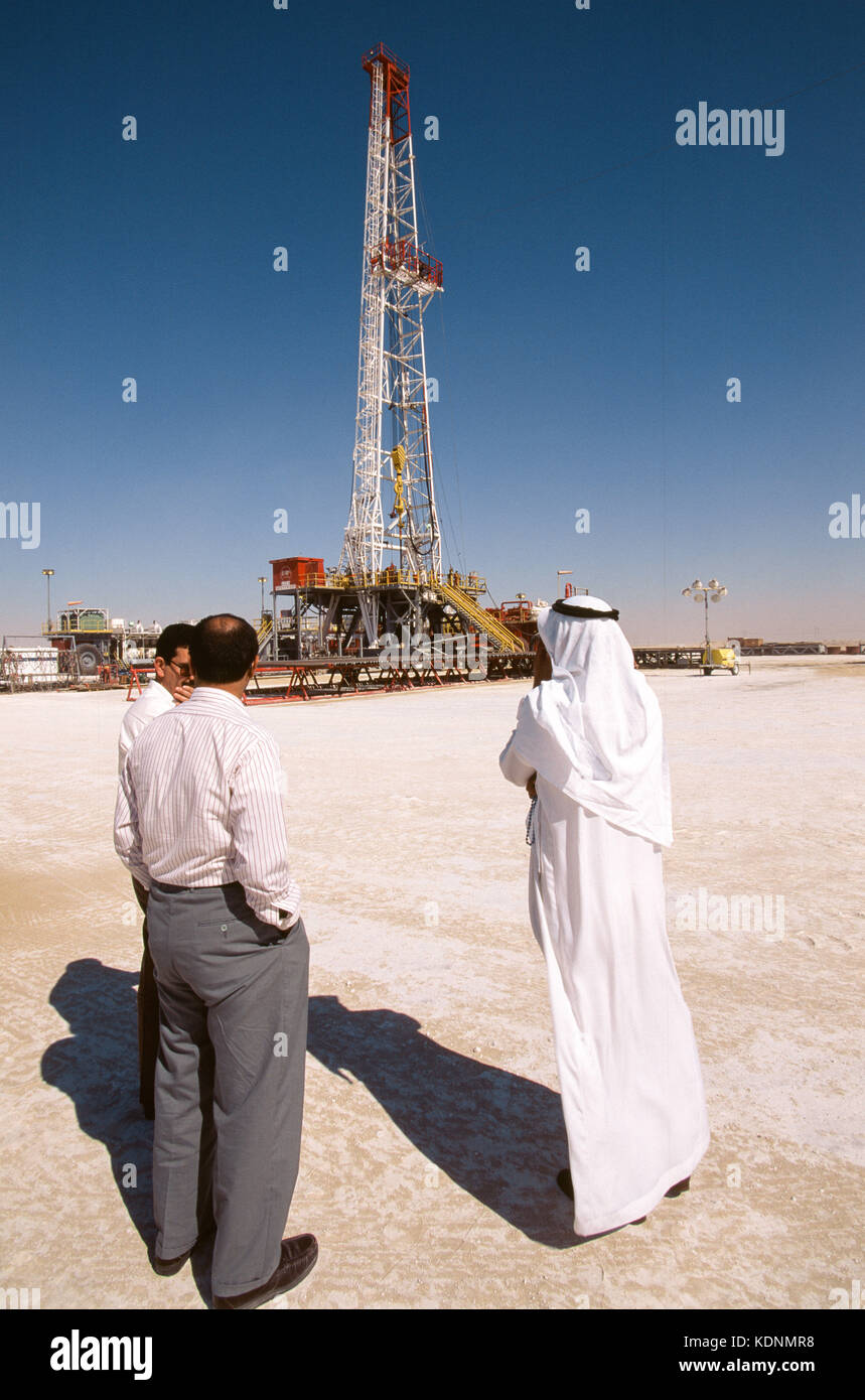 An oil rig exploring for oil and gas in the deserts of Saudi Arabia