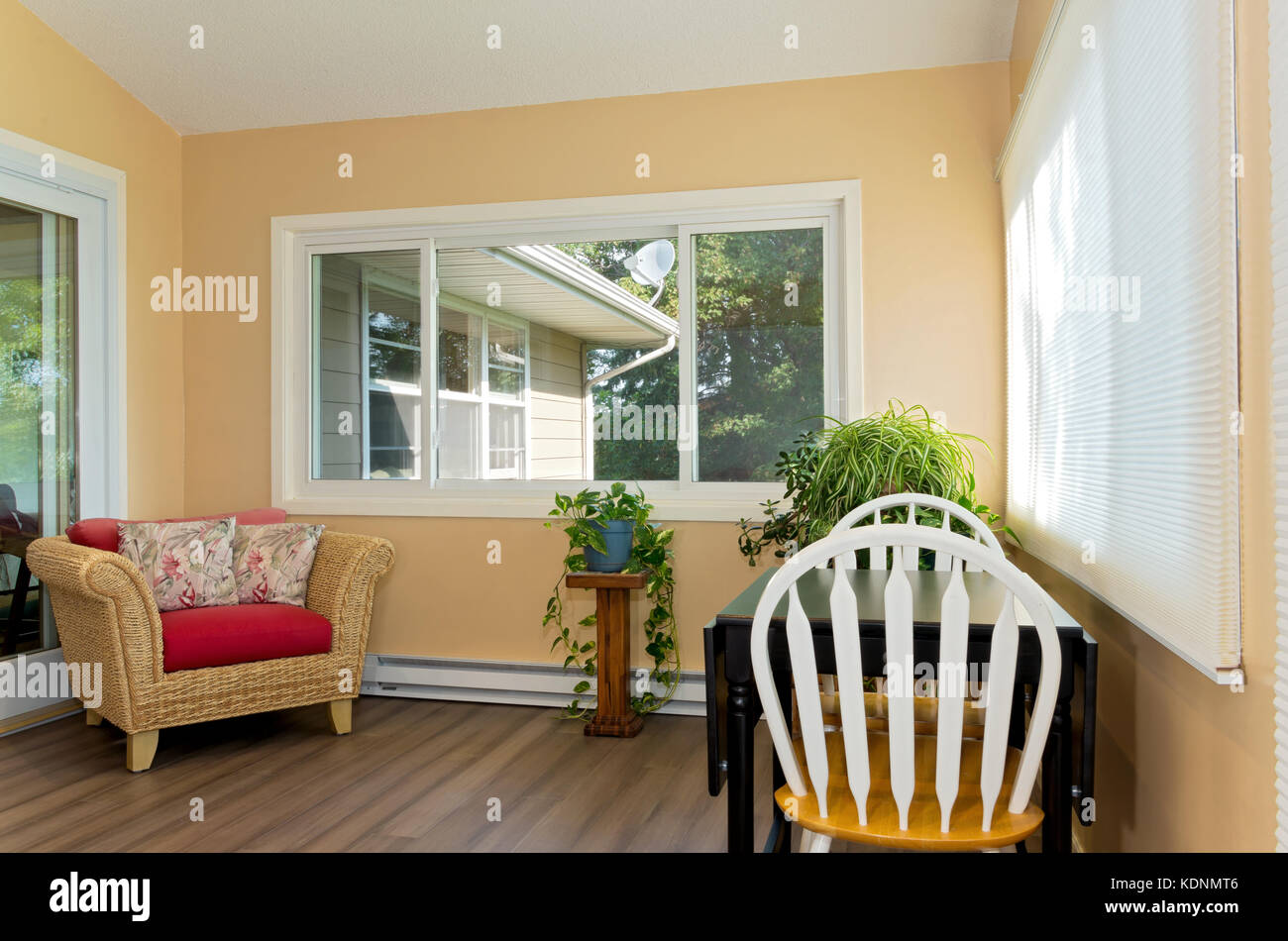 interior of sunroom addition to home and decor including small