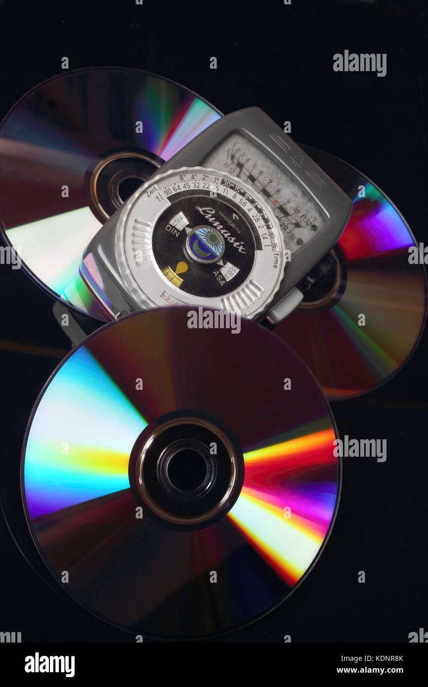 German photometer Lunasix Gossen on DVDs - Stock Image