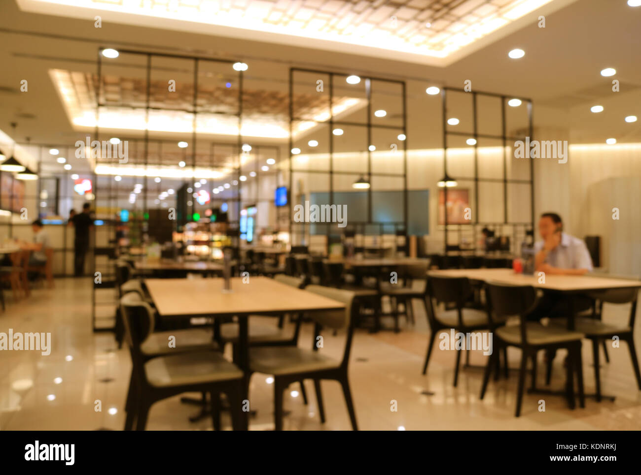 Blurred Modern Style Interior Of A Cafe Restaurant In Beige And Black Stock Photo Alamy
