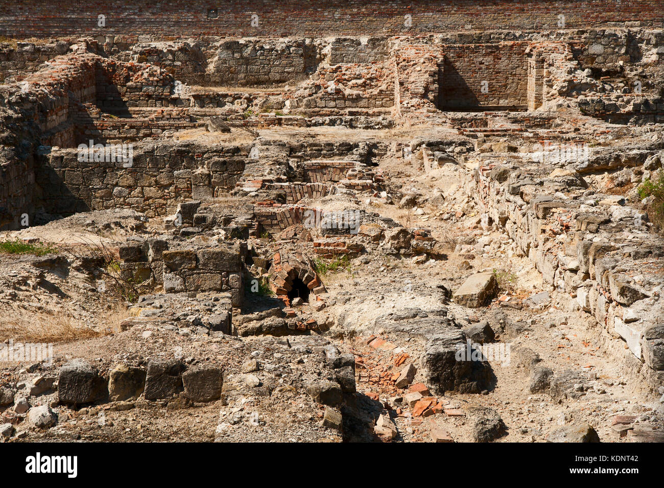 Archaeological excavations of an ancient settlement in a modern Budapest Stock Photo