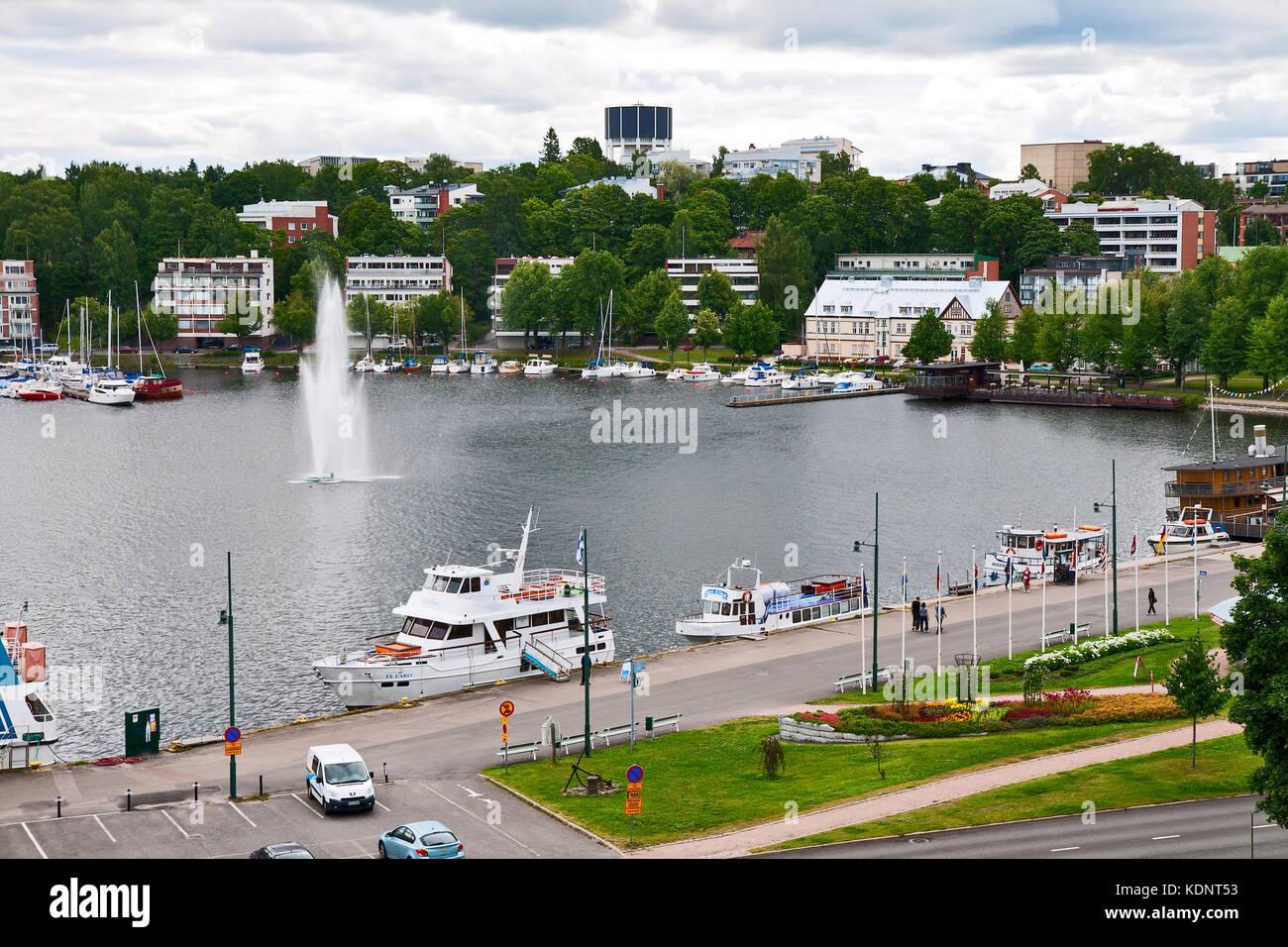 LAPPEENRANTA, FINLAND - JULY 21, 2013 - Pleasure boats are at the pier of the port Lappeenranta Stock Photo