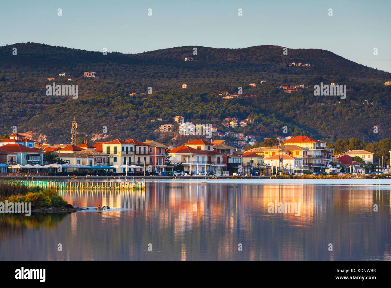 Town of Lefkada as seen over the lagoon from a distance, Greece. - Stock Image