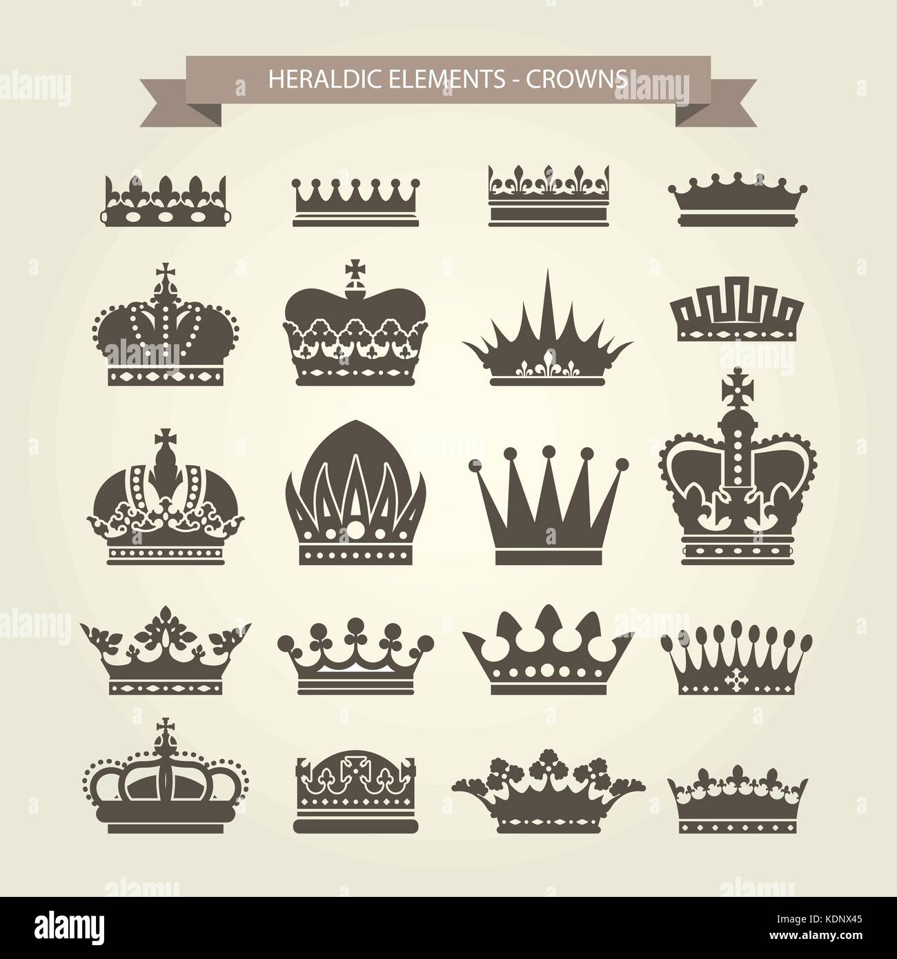Heraldic crowns set - monarchy coronet and elite symbols - Stock Vector