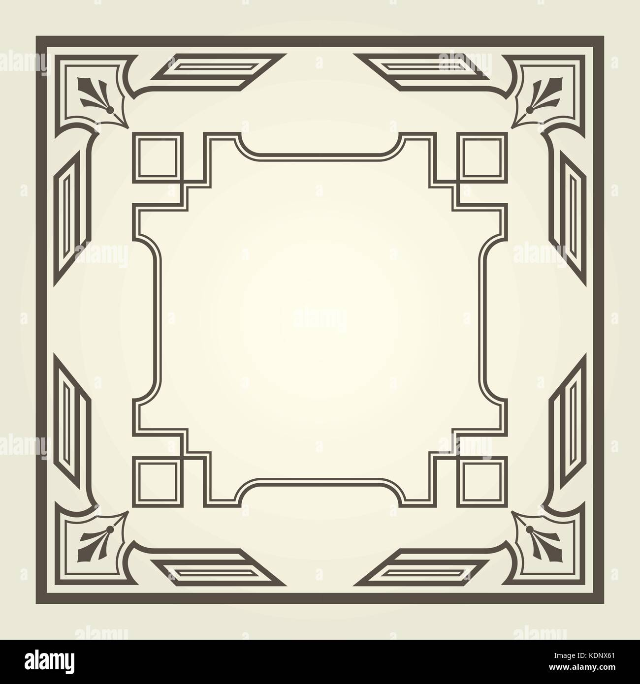 Art Deco Style Square Frame With Stright Lines Stock Vector Art