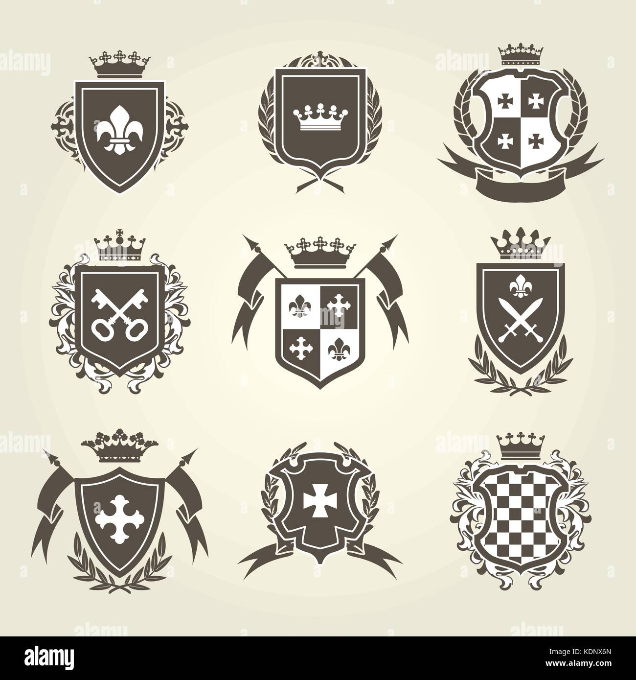 Knight Shields And Royal Coat Of Arms Set Stock Vector Art