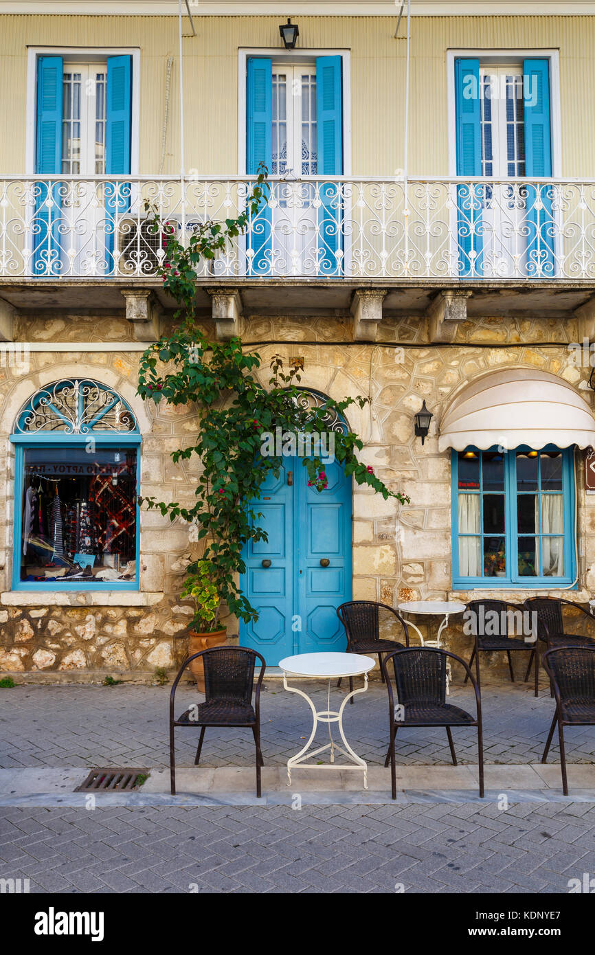 Architecture in the old town of Lefkada in Greece. - Stock Image