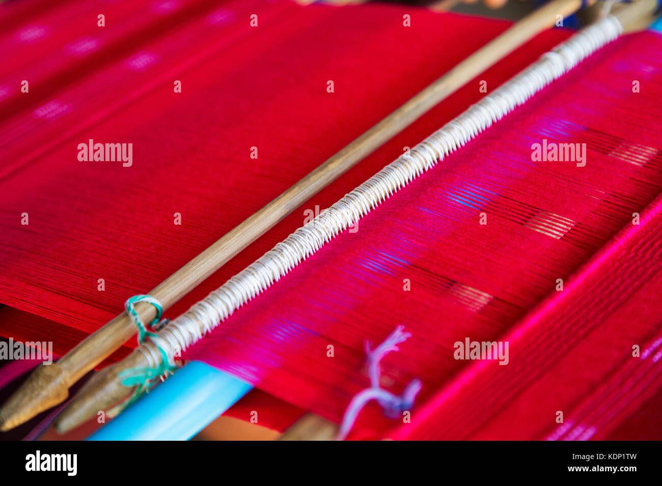 Detail of the traditional waving loom in Chiang Mai, Thailand Stock Photo