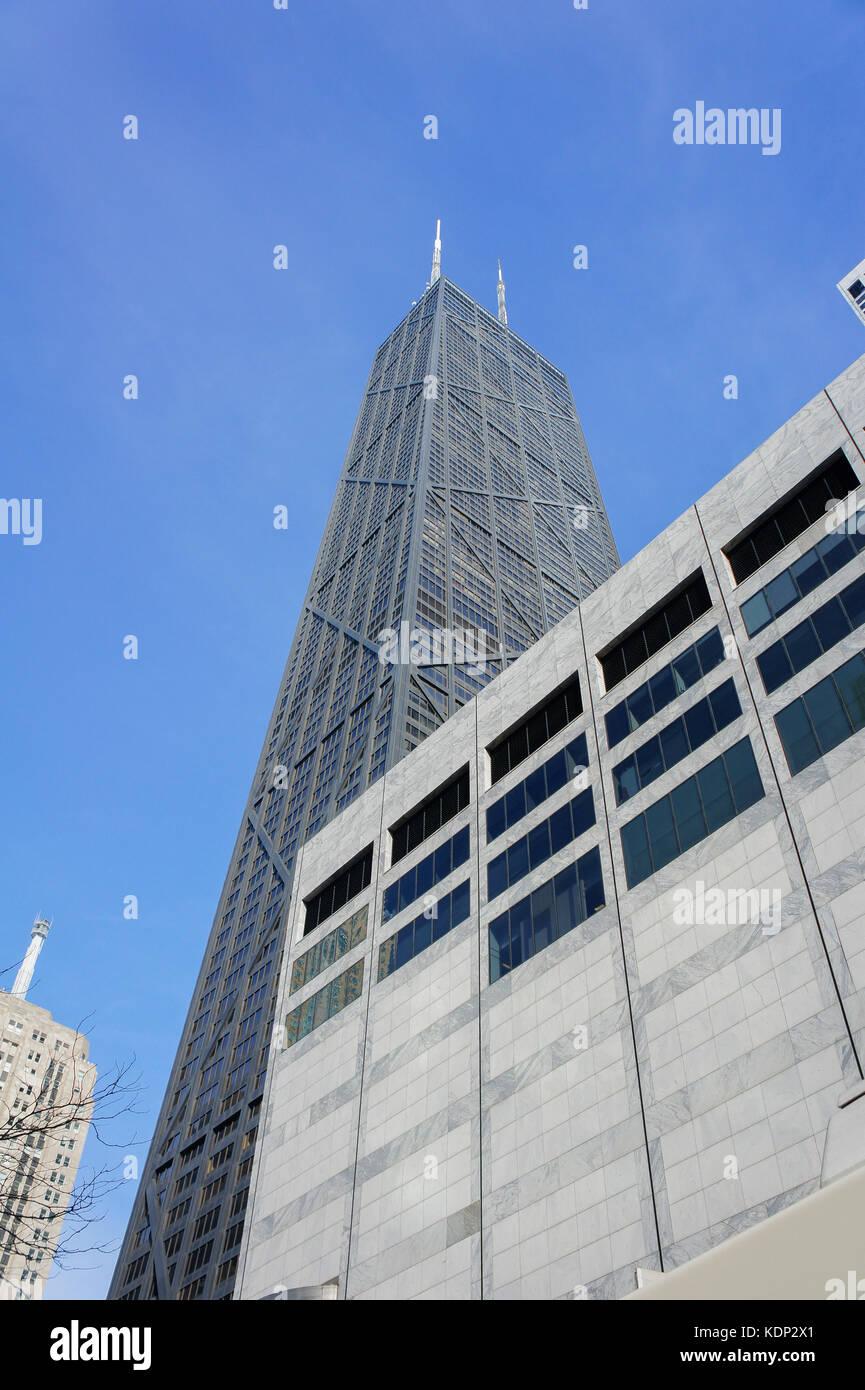 The tall skyscaper - John Hancock Center at Chicago, Illinois, United States - Stock Image