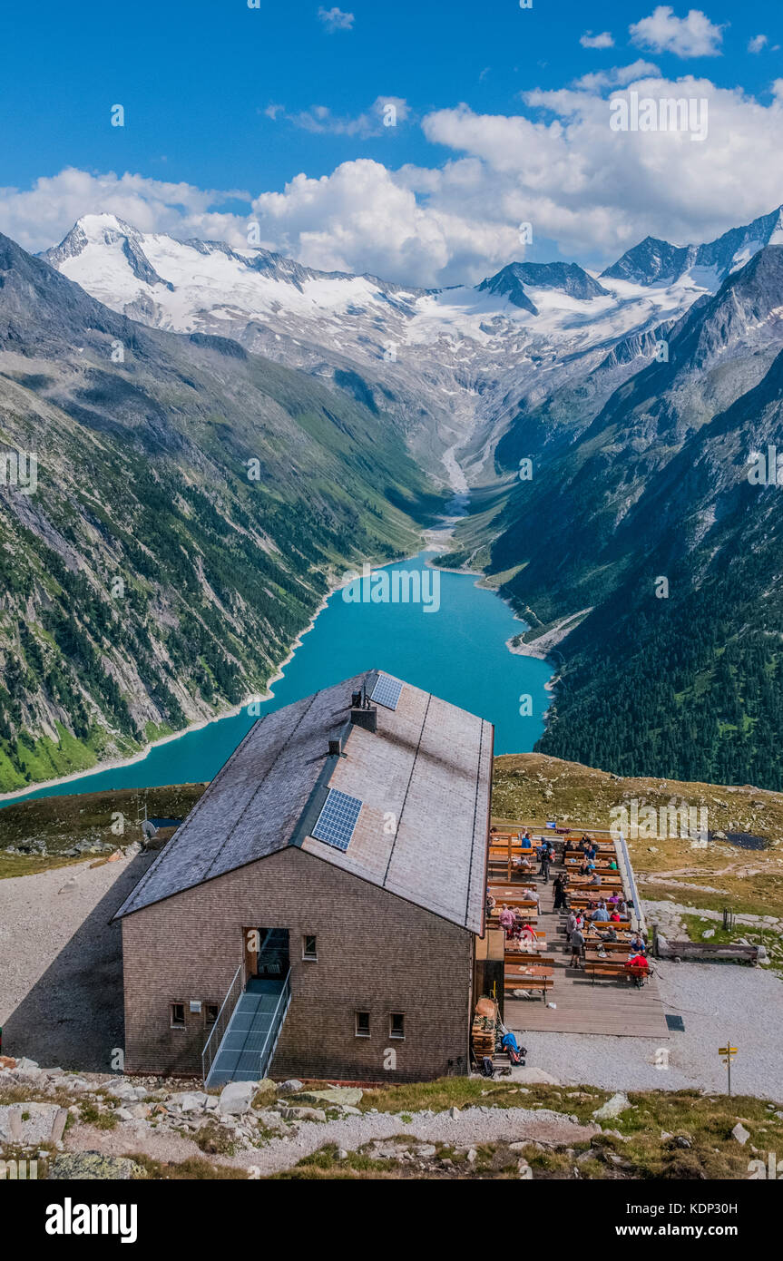The Olperer  Hut mountain refuge in the Zillertal Alps overlooking the Schlegeis Stausee Stock Photo