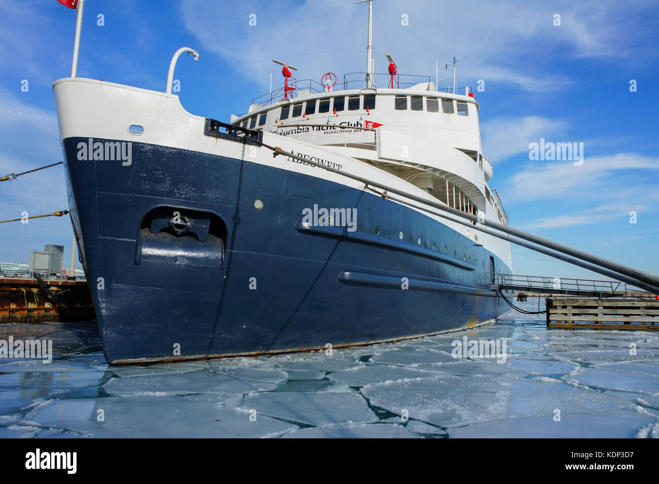 Chicago, JAN 31: Big ship dock by the beautiful DuSable Harbor on JAN 31, 2012 at Millennium Park, Chicago, Illinois, - Stock Image