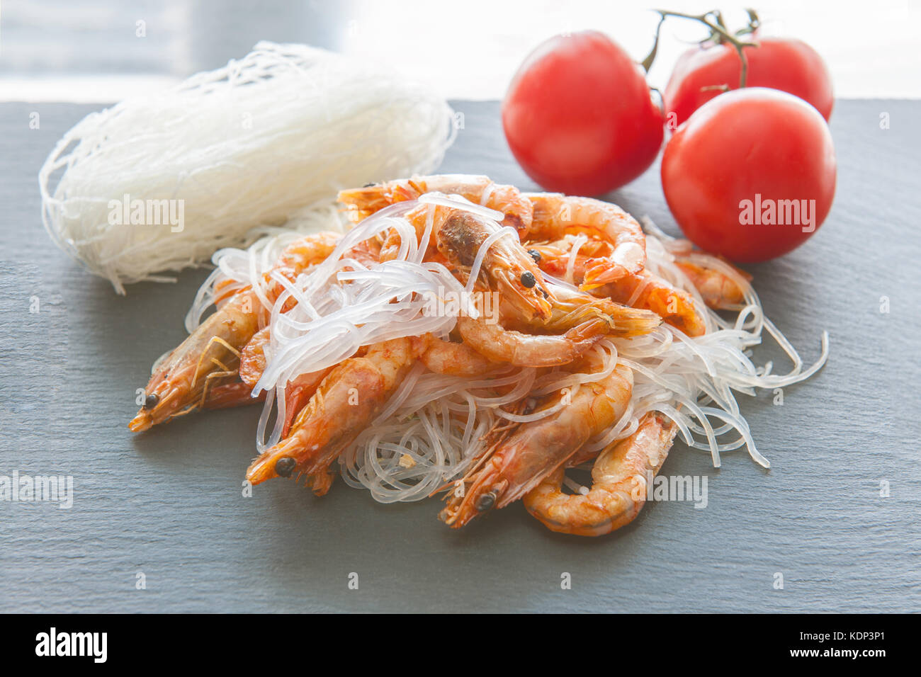 Rice Noodles Cellophane Boiled Shrimp On The Grill Spices And Stock Photo Alamy