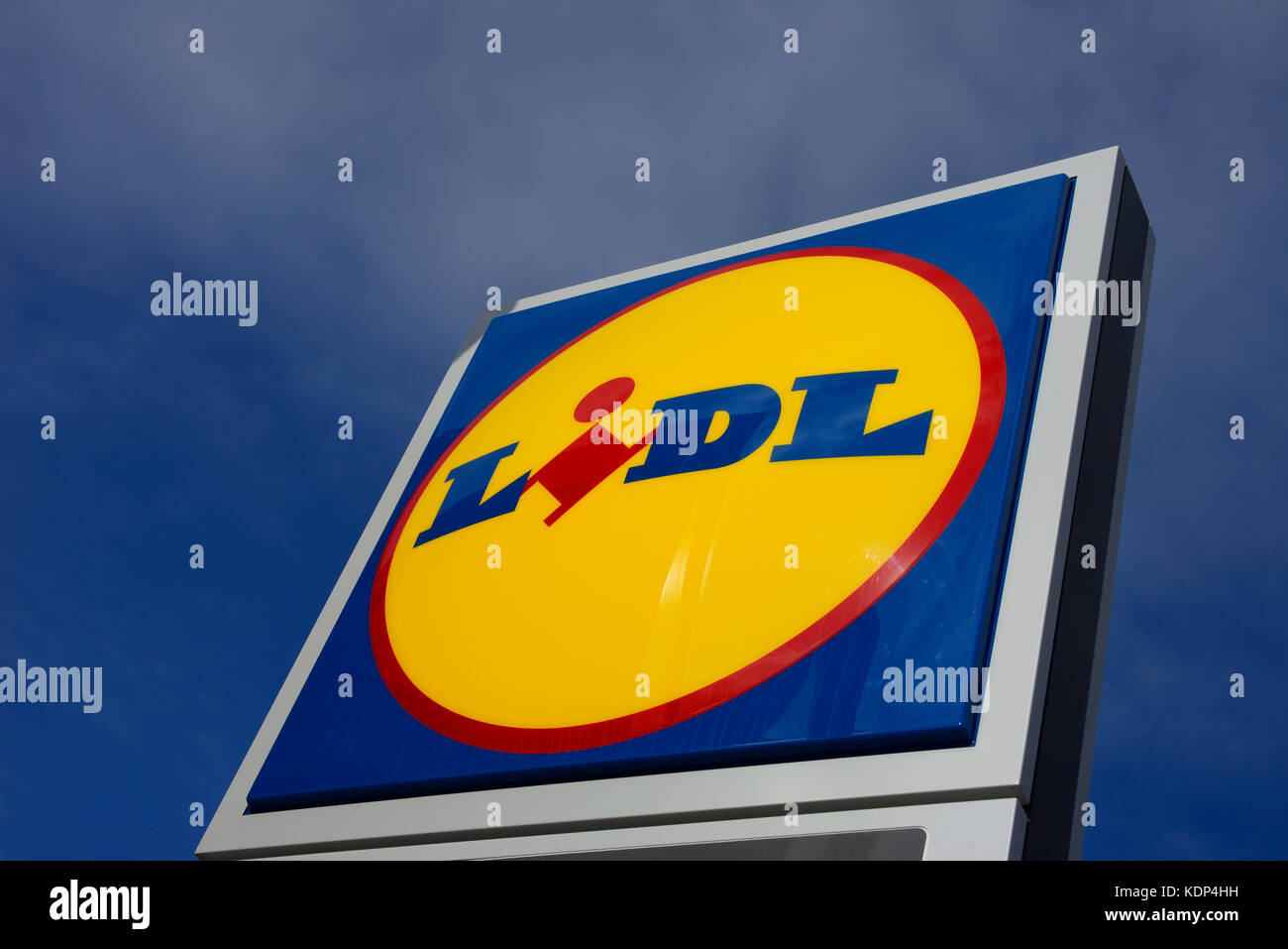 Lidl shop store sign in Ciudad Quesada Spain. Logo brand name. Space for copy - Stock Image