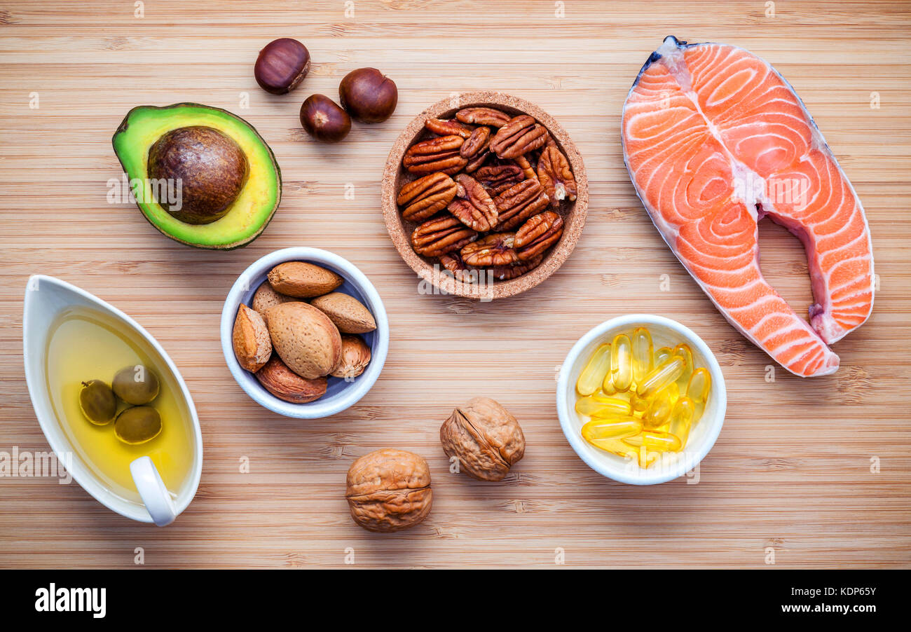 Selection food sources of omega 3 and unsaturated fats. Super food high vitamin e and dietary fiber for healthy - Stock Image