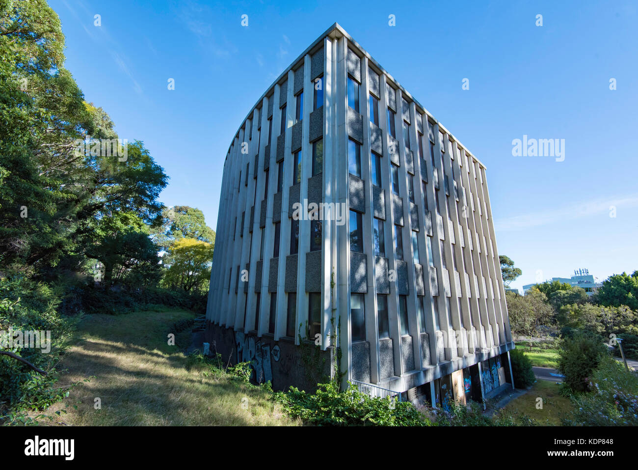 The former 3M building in Pymble, Sydney, Australia a curviloinear post war international style building - Stock Image
