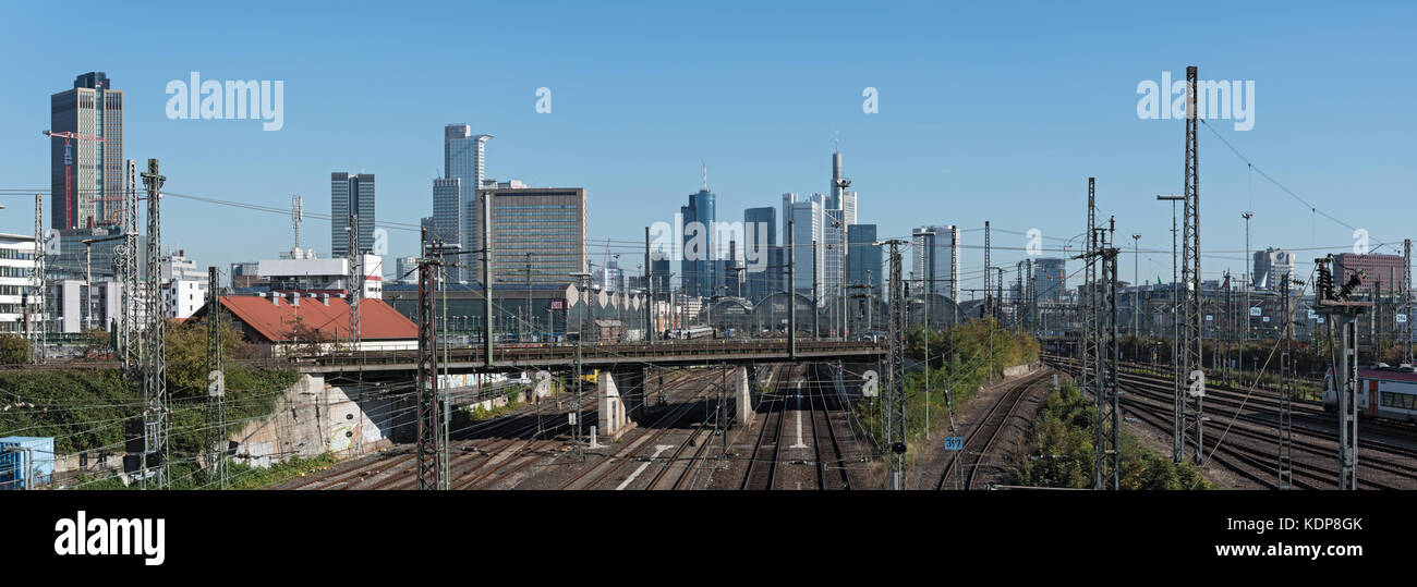 Panorama image skyscrapers and the railway aerial of Frankfurt main station - Stock Image