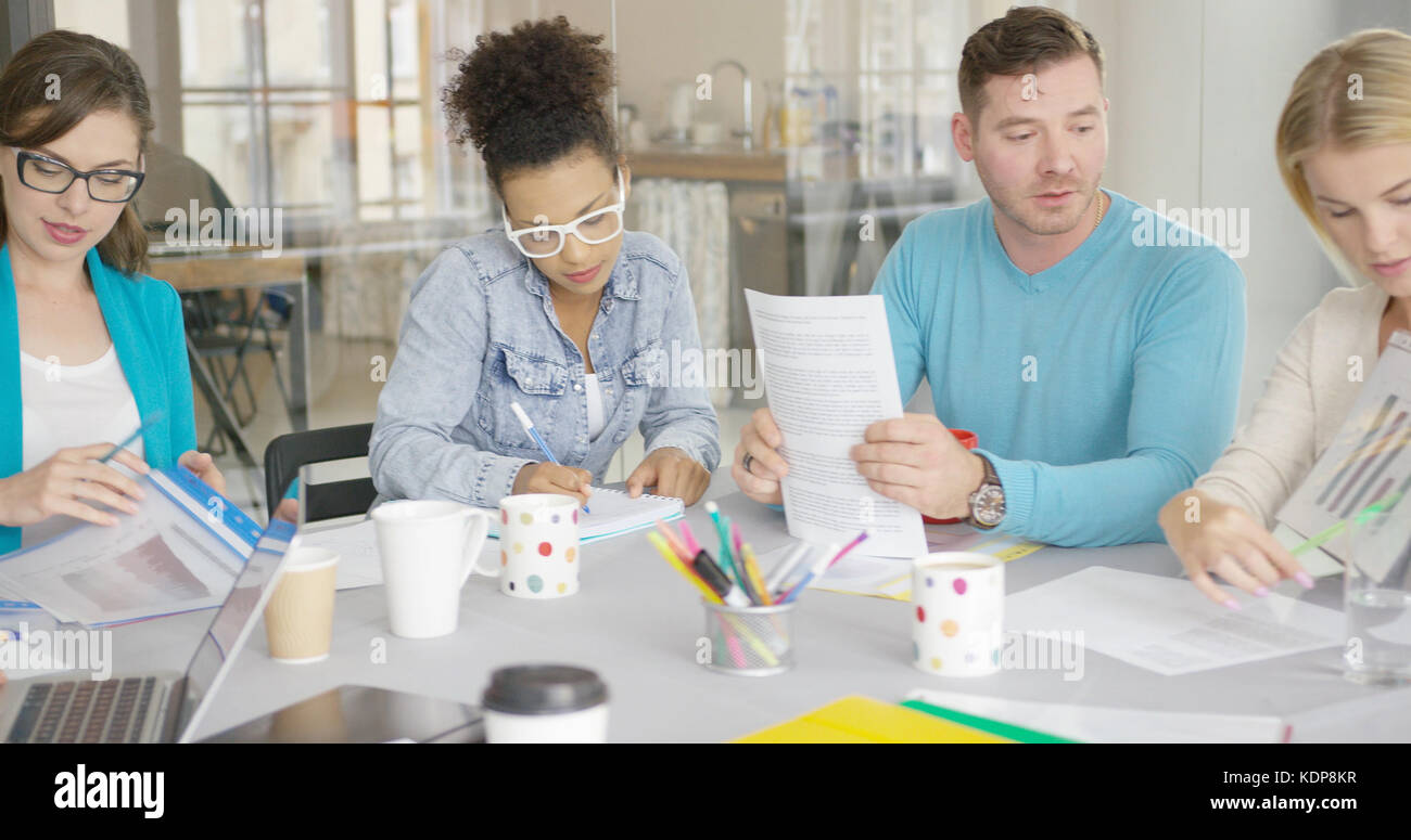 People working with documents - Stock Image