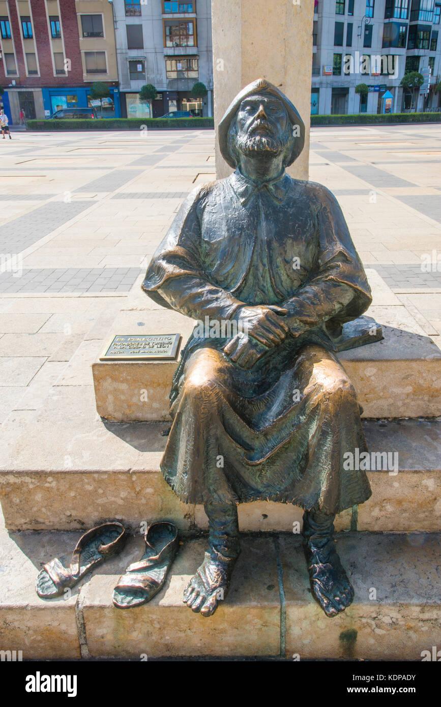 Pilgrim monument. Leon, Spain. - Stock Image