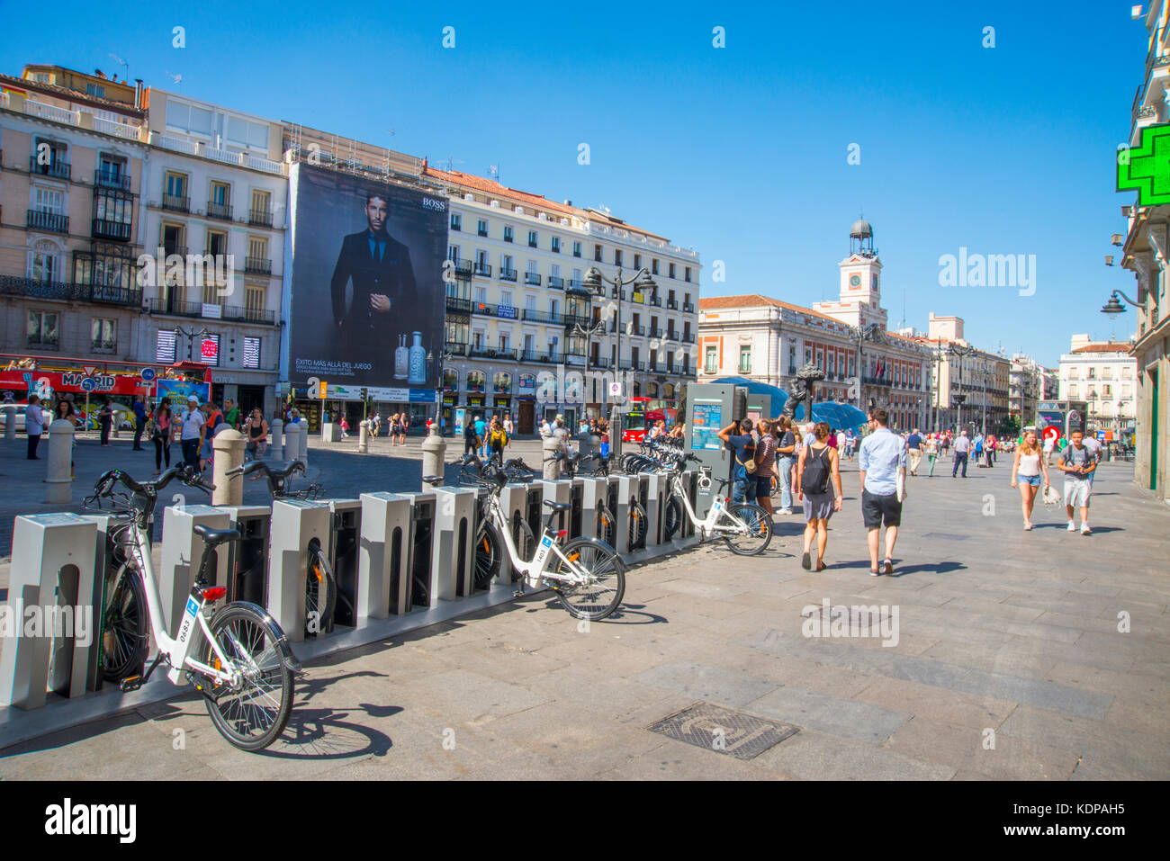 Bike parking. Puerta del Sol, Madrid, Spain. - Stock Image