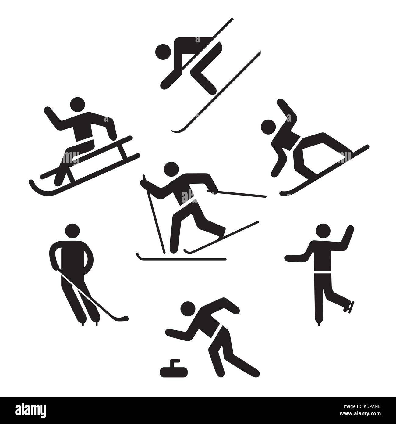 Winter sports Pictogram, Ice skating, Skiing, - Stock Image