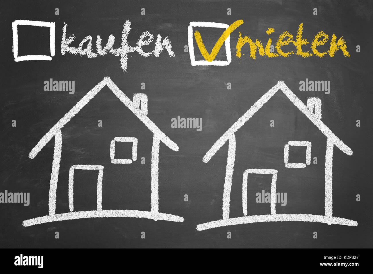House or real state decision making concept between kaufen oder mieten (buying or renting) - Stock Image