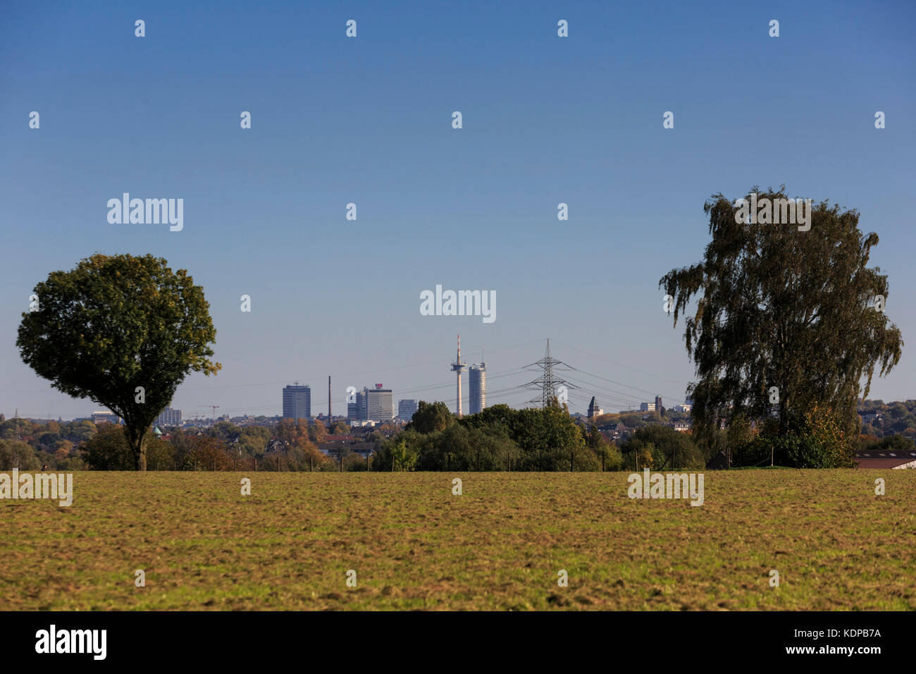 Skyline of the city of Essen, Ruhr Area, Germany - Stock Image