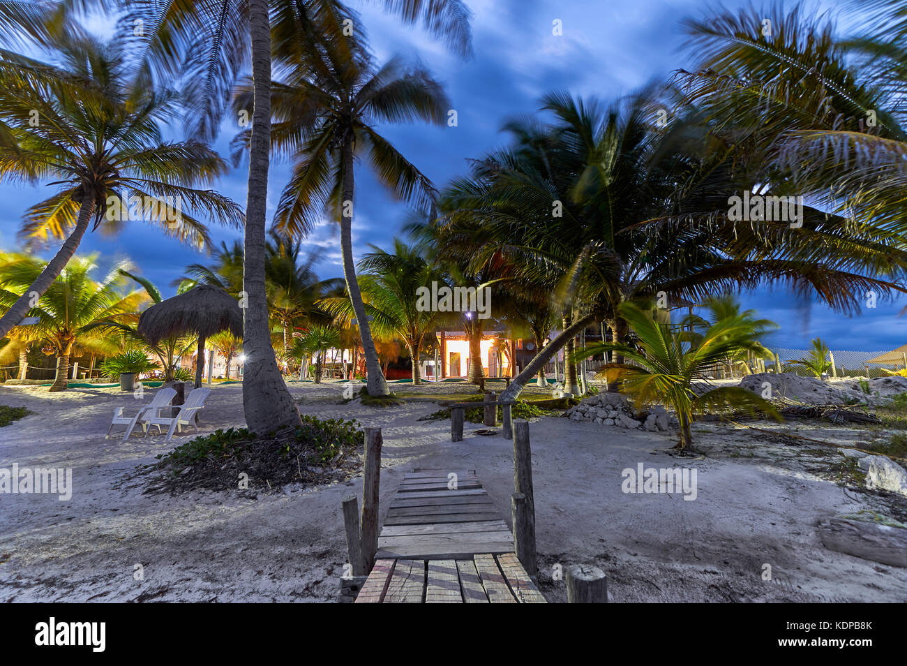 The beach at Mahahual, Mexico during the blue hour - Stock Image