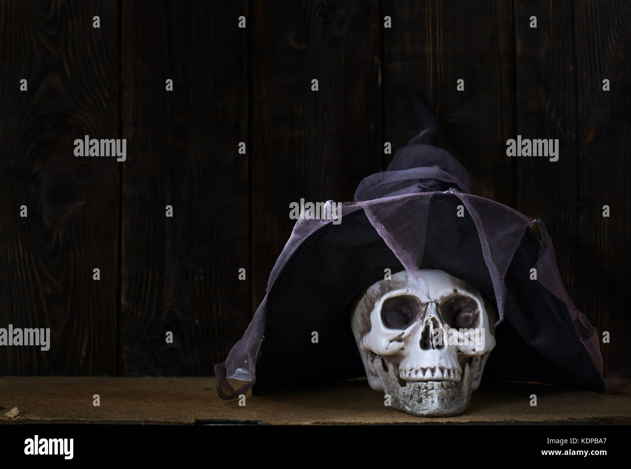 Human skull with magician hat at the wooden wall Stock Photo