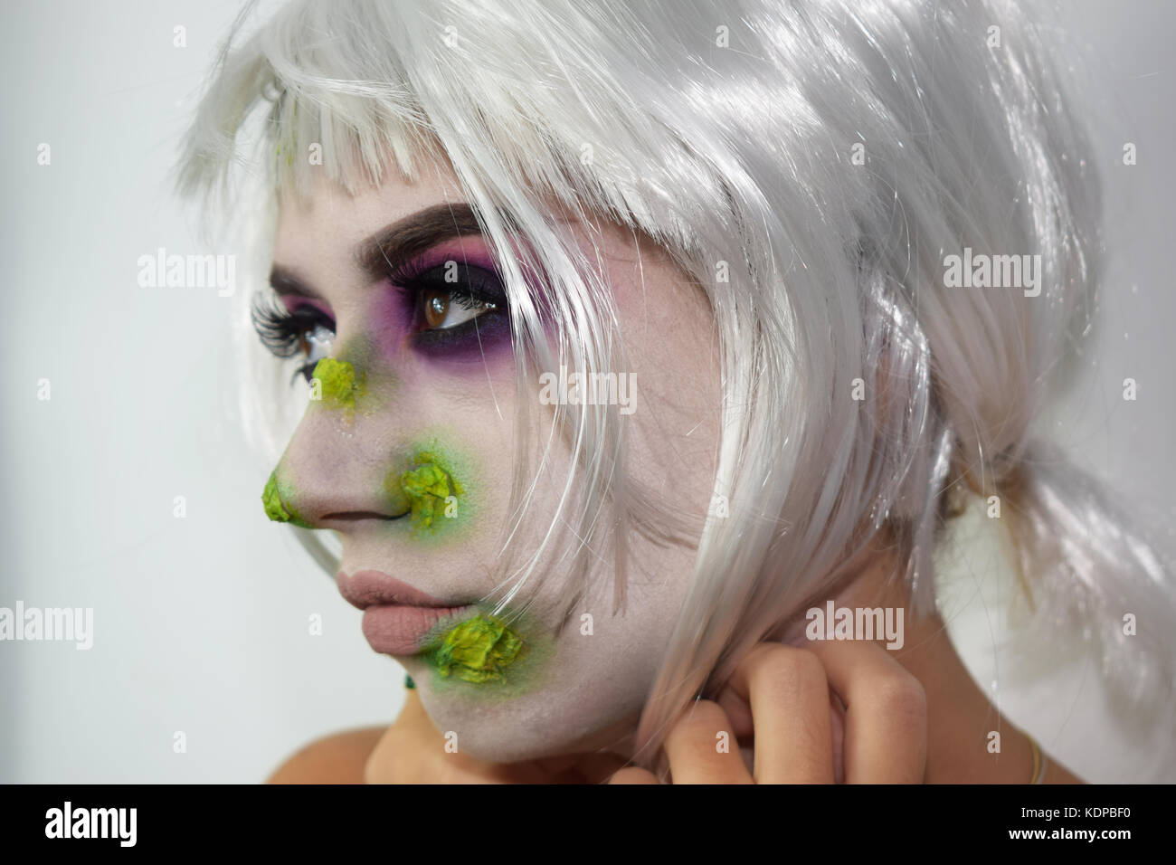 Halloween White And Green Witch Makeup Stock Photo ...