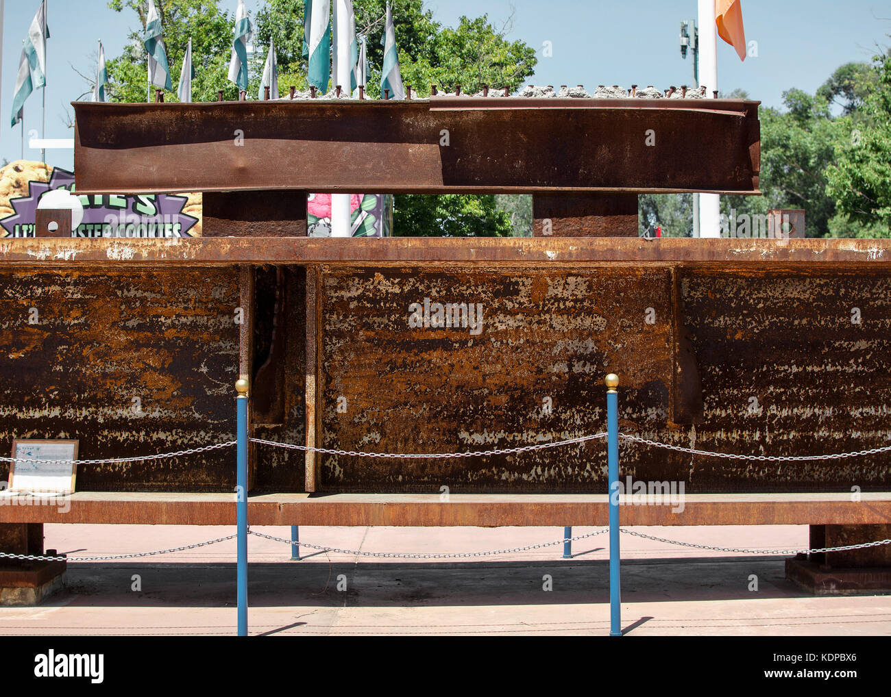 Sacramento, California, U.S.A. 23 July 2017. Steel beam extracted from the World Trade Center on display at the - Stock Image