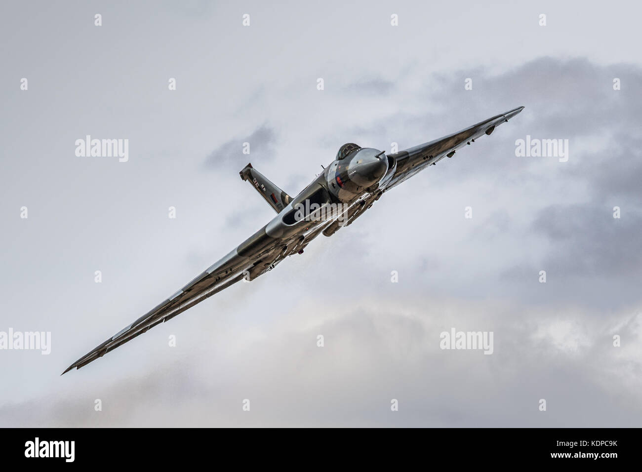 XH558 Vulcan Bomber displaying at RIAT, Royal international Air Tattoo at RAF Fairford, England, UK - Stock Image