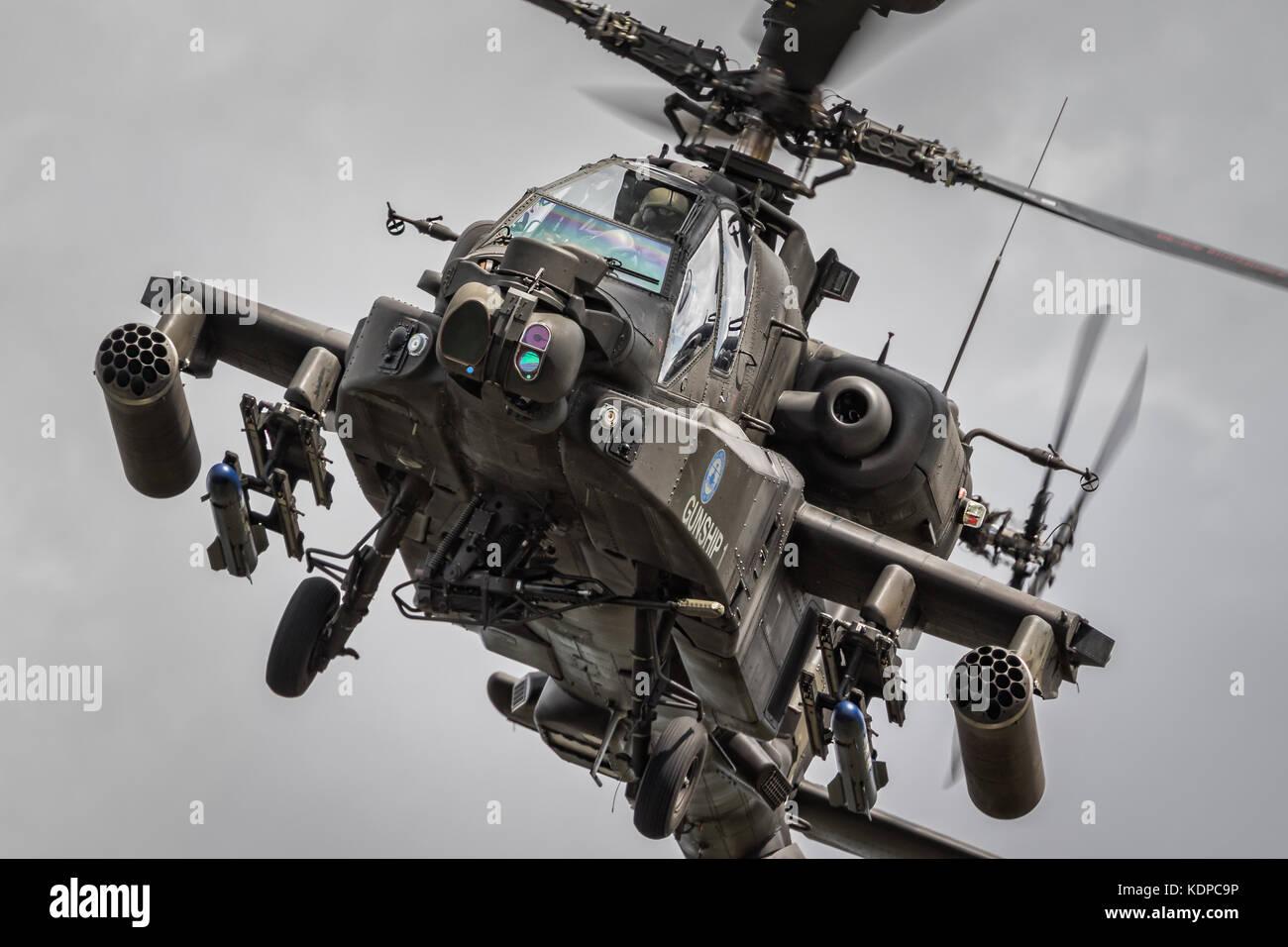 Apache Gunship  displaying at RIAT, Royal international Air Tattoo at RAF Fairford, England, UK - Stock Image