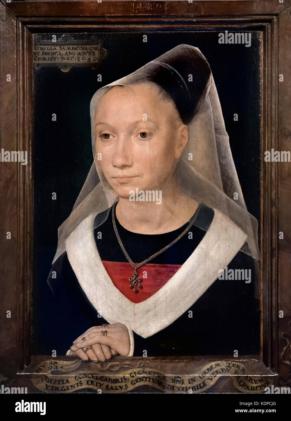 Portrait of a Young Woman or Sibylla Sambetha by Hans Memling (c.1430-1494), oil on panel, 1480 - Stock Image