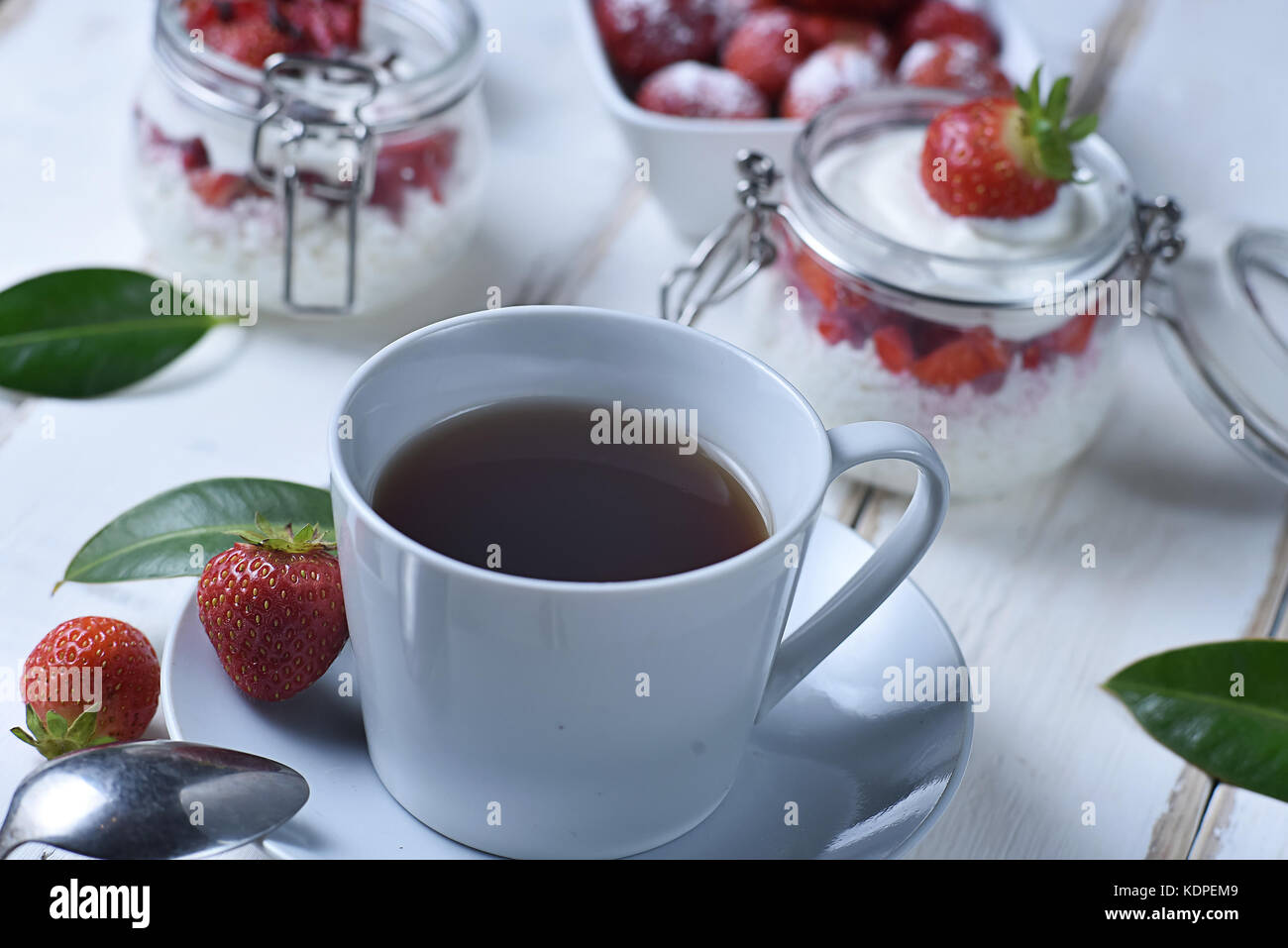 Tea and strawberry dessert Stock Photo