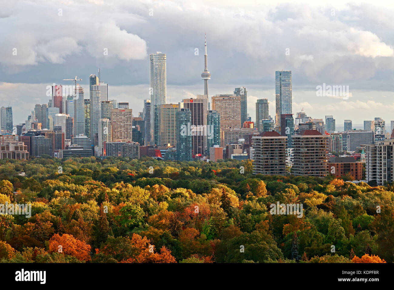 Toronto downtown and midtown skyline with brilliant fall colors lit by sunlight in late after between cold fronts - Stock Image