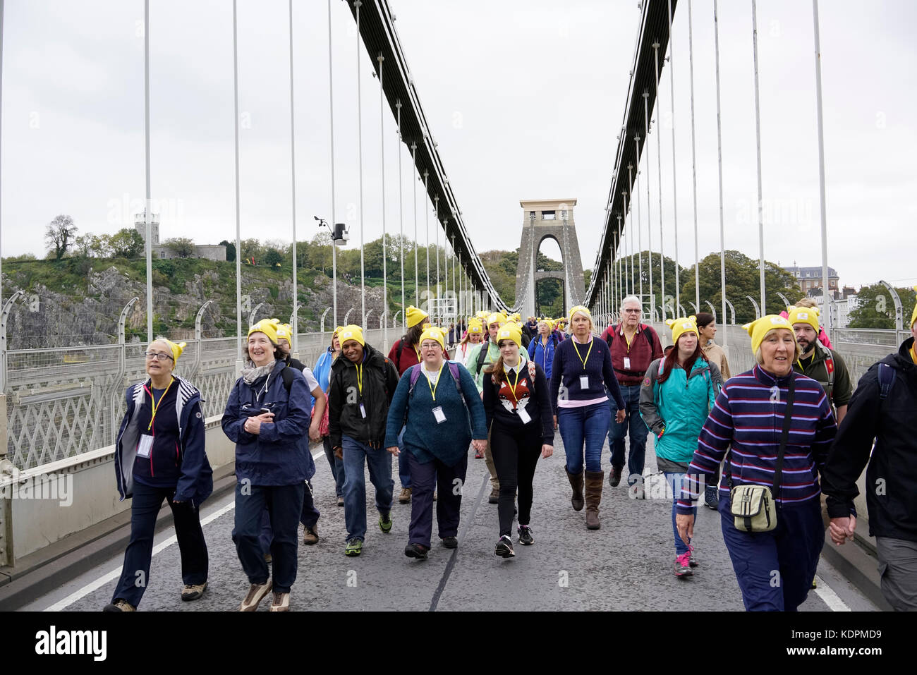 Bristol, United Kingdom, 15 October 2017.  Charity walkers cross the Clifton Suspension Bridge during the Countryfile - Stock Image