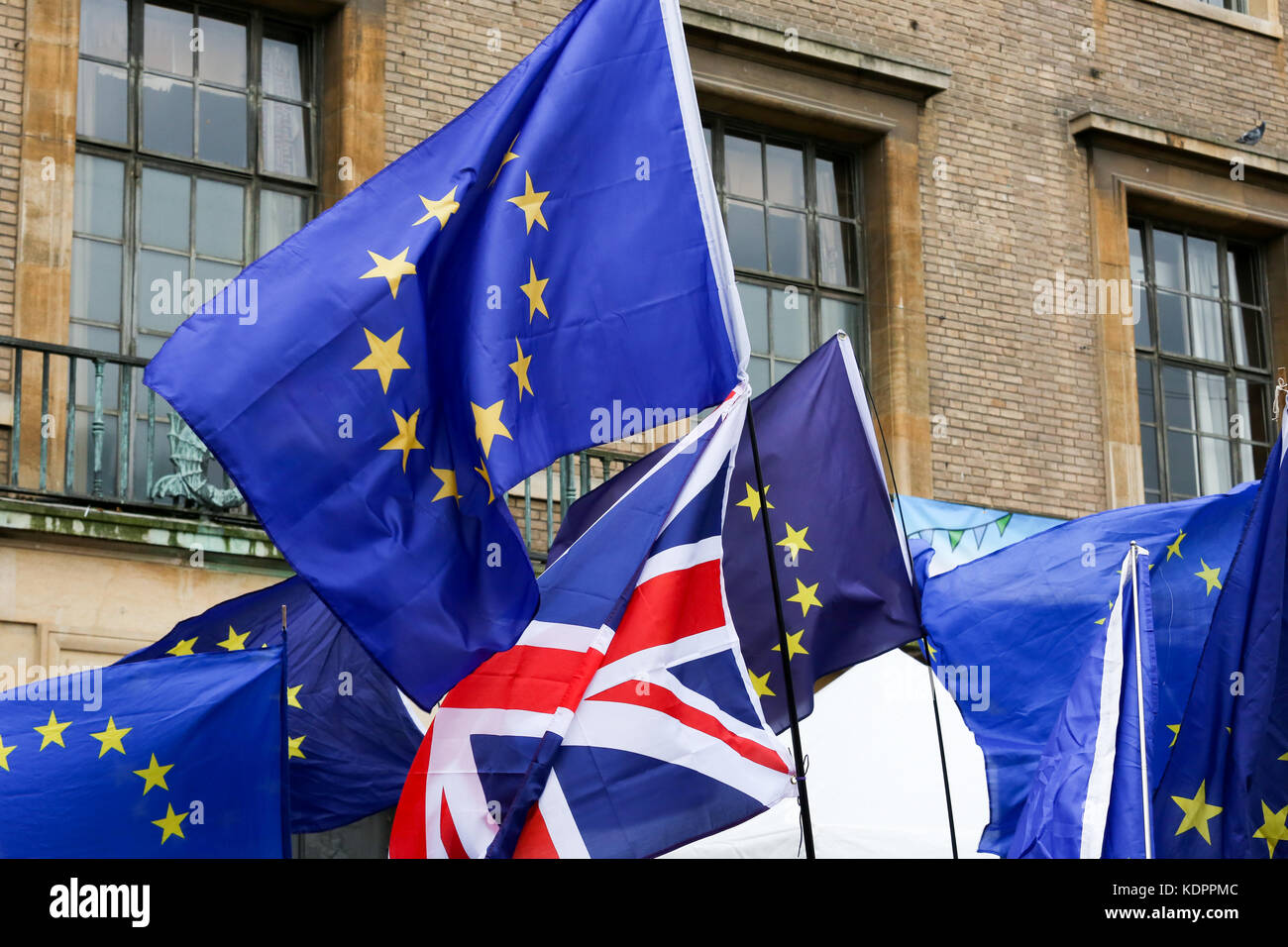 Cambridge, UK. 14th Oct, 2017.  Demonstration outside Guildhall in Market Square, Cambridge, to say no to Brexit. - Stock Image