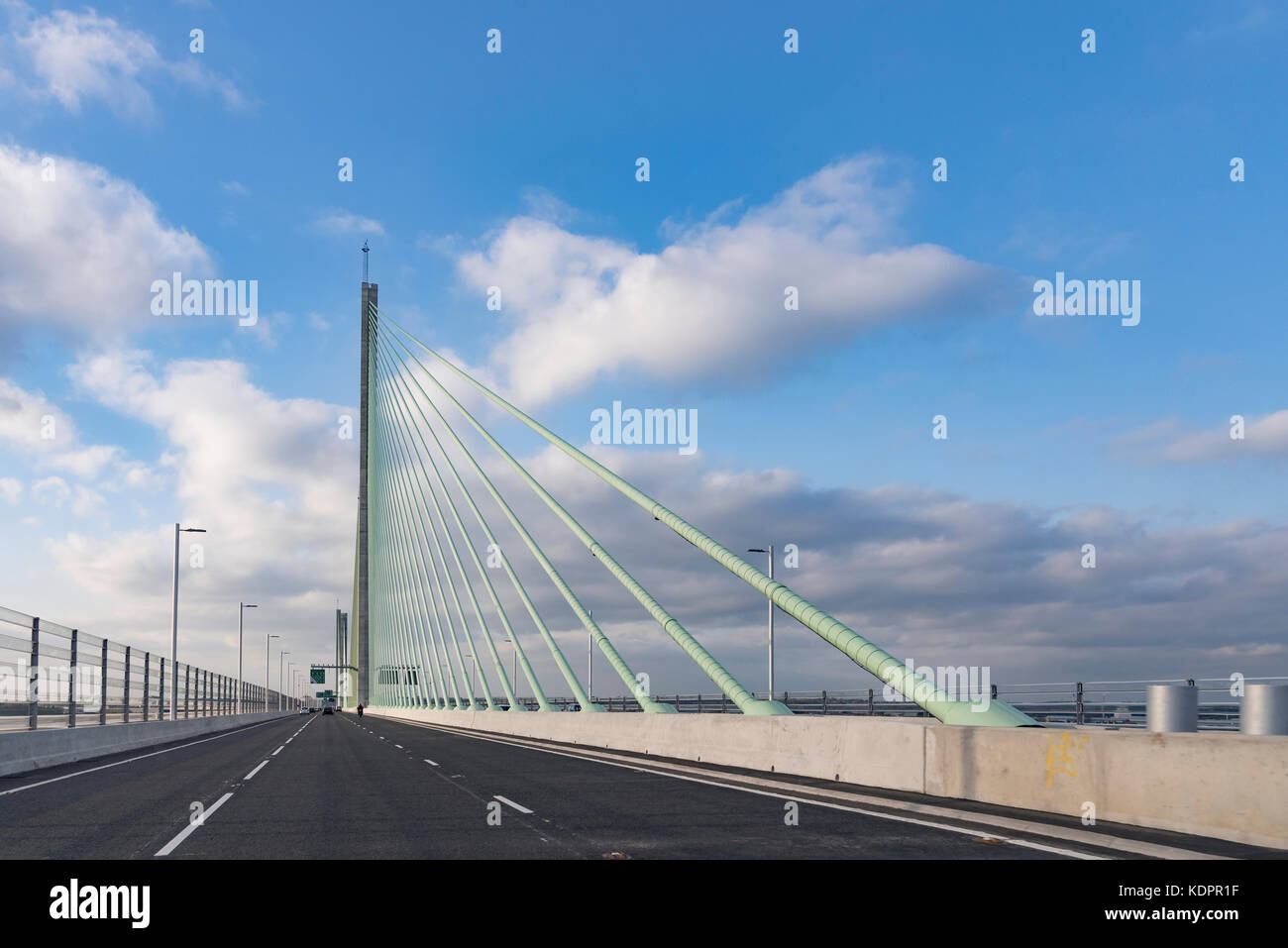 Runcorn. United Kingdom.  15 October. 2017. The New Mersey Gateway bridge across the river Mersey on it's first Stock Photo