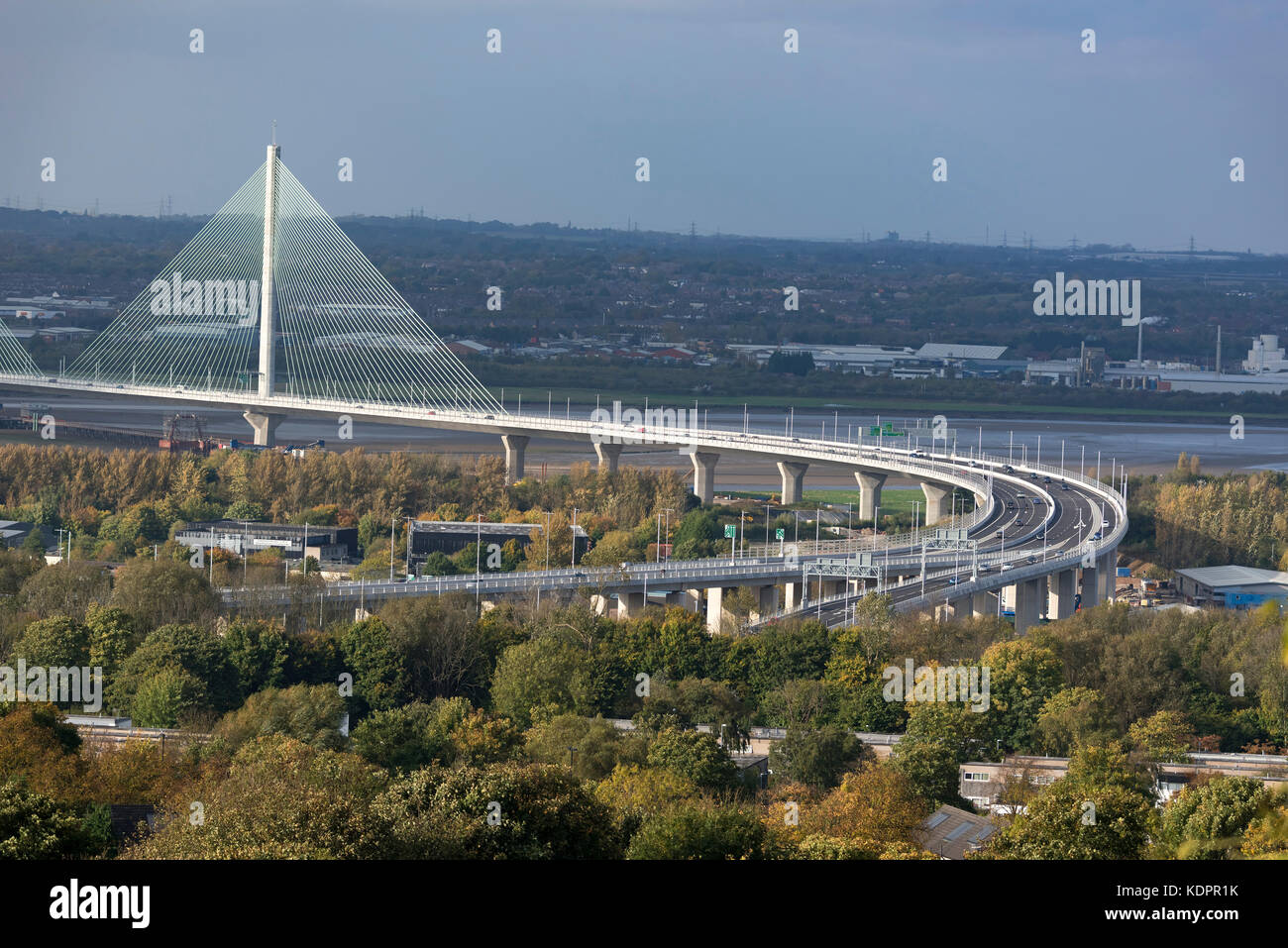 Runcorn. United Kingdom.  15 October. 2017. The New Mersey Gateway bridge across the river Mersey on it's first - Stock Image