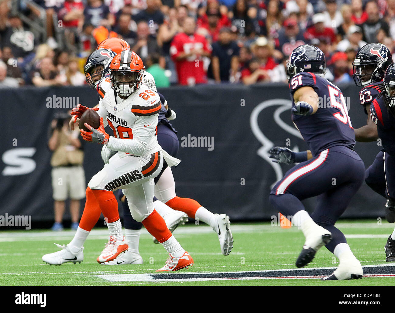 Houston, TX, USA. 15th Oct, 2017. Cleveland Browns running back Duke Johnson (29) runs after a reception in the - Stock Image
