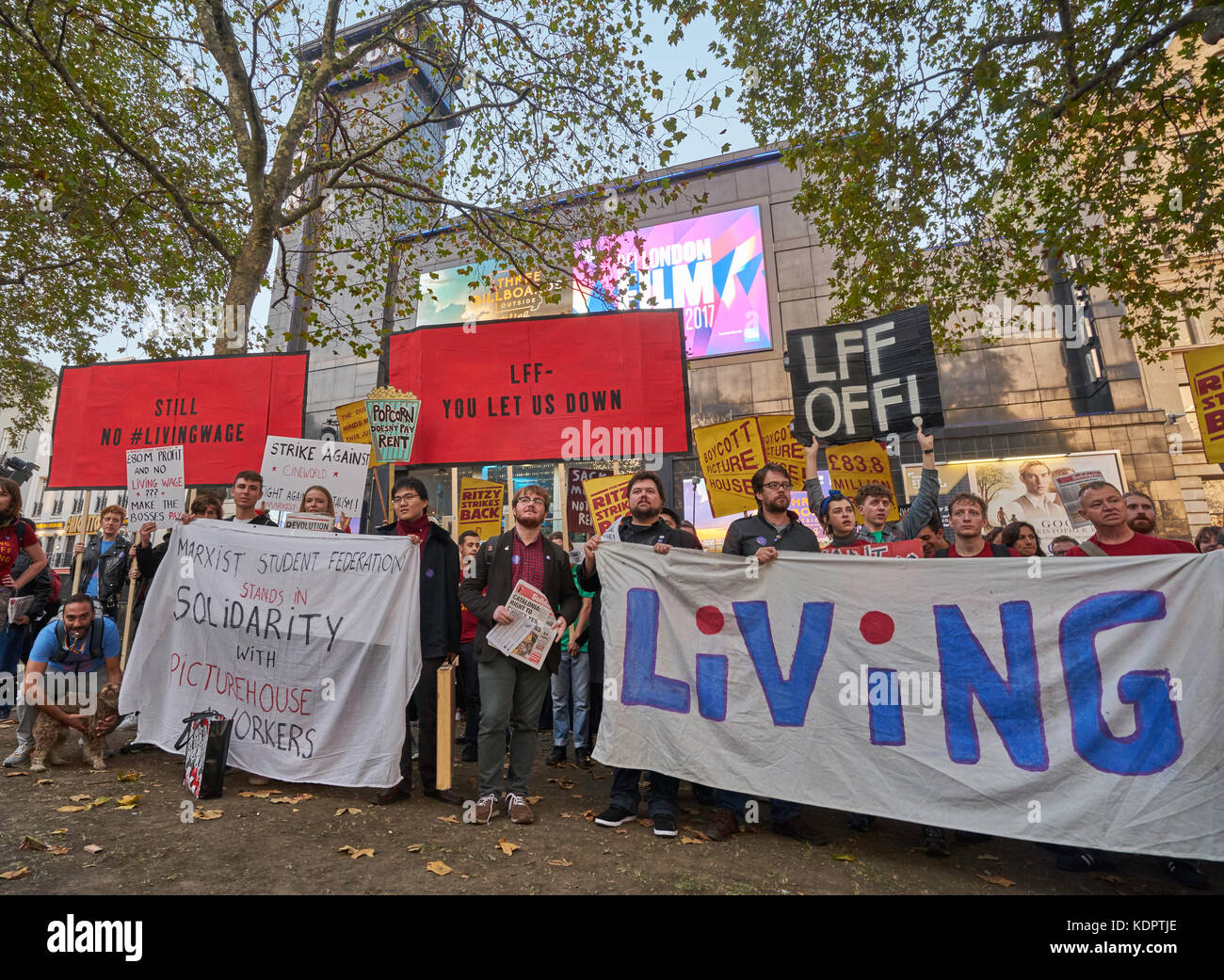 London, UK. 15th Oct, 2017. London living wage protest by Cinema and festival workers London Film Festival London, - Stock Image