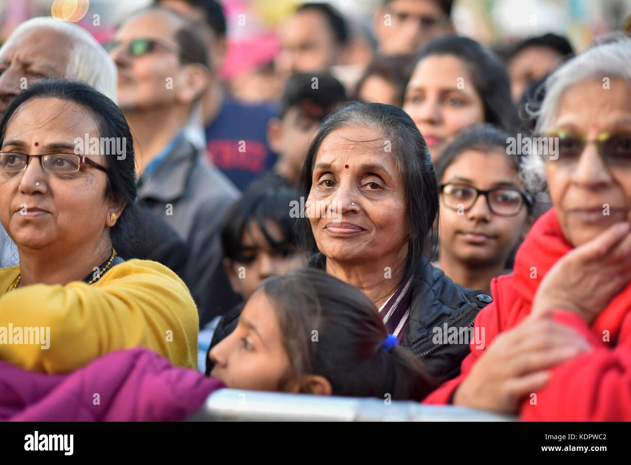 London, UK. 15th Oct, 2017. Visitors view stage performances at Diwali, the 'Festival of Lights', in Trafalgar Square. Stock Photo