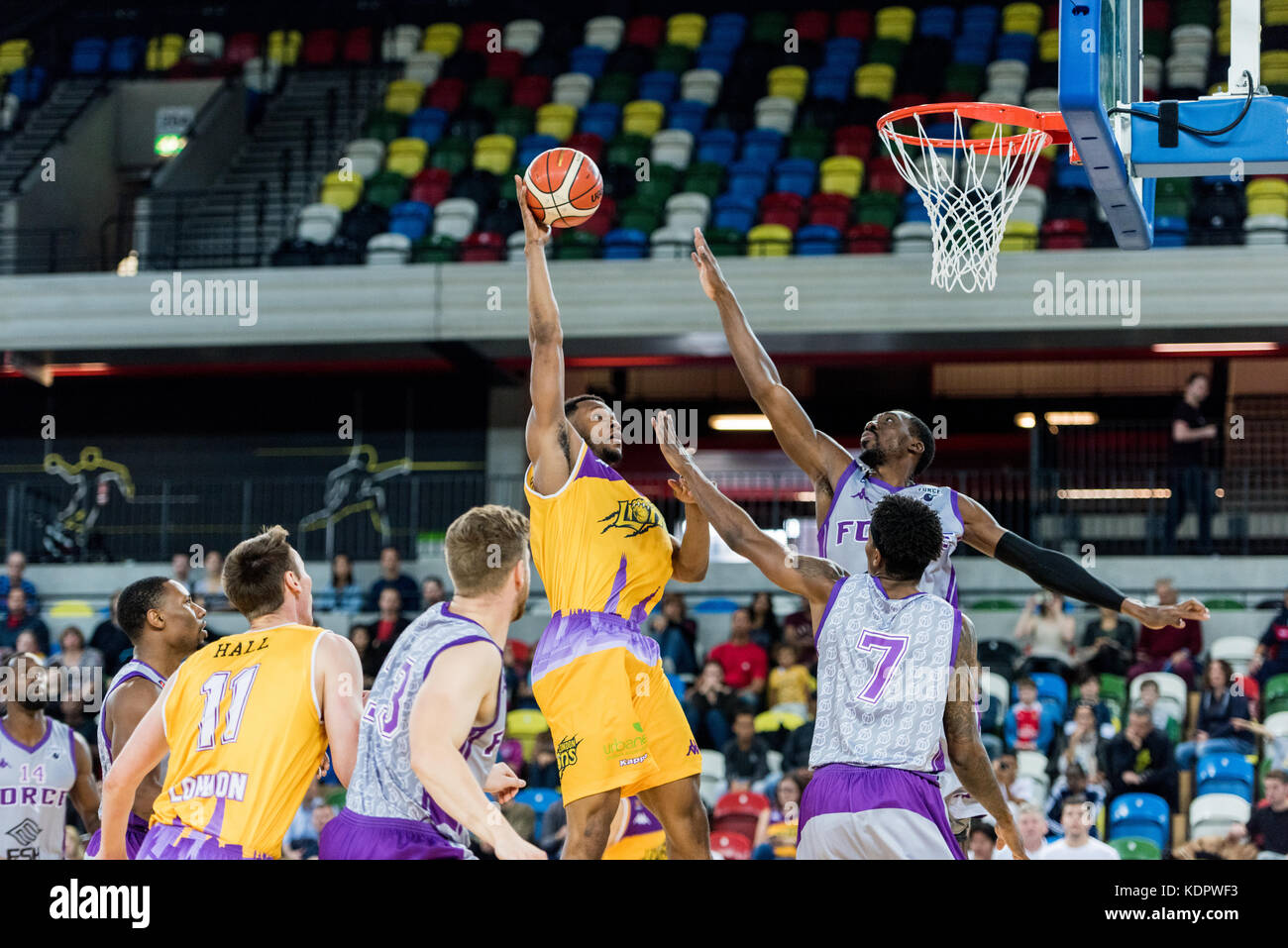 London, UK. 15th Oct, 2017. BBL: London Lions vs Leeds Force at The Copper Box Arena London Lion's dominated - Stock Image