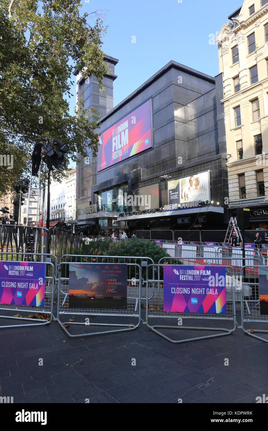 London, UK. 15th Oct, 2017. Preparations for the Closing Night Gala of the BFI London Film festival 2017 in Leicester - Stock Image