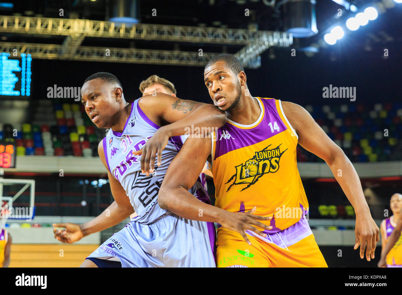 London, UK, 15th Oct 2017. Leeds' Allie Fullah (31)is blocked by Lions' Lamar Roberts (14). The London Lions - Stock Image