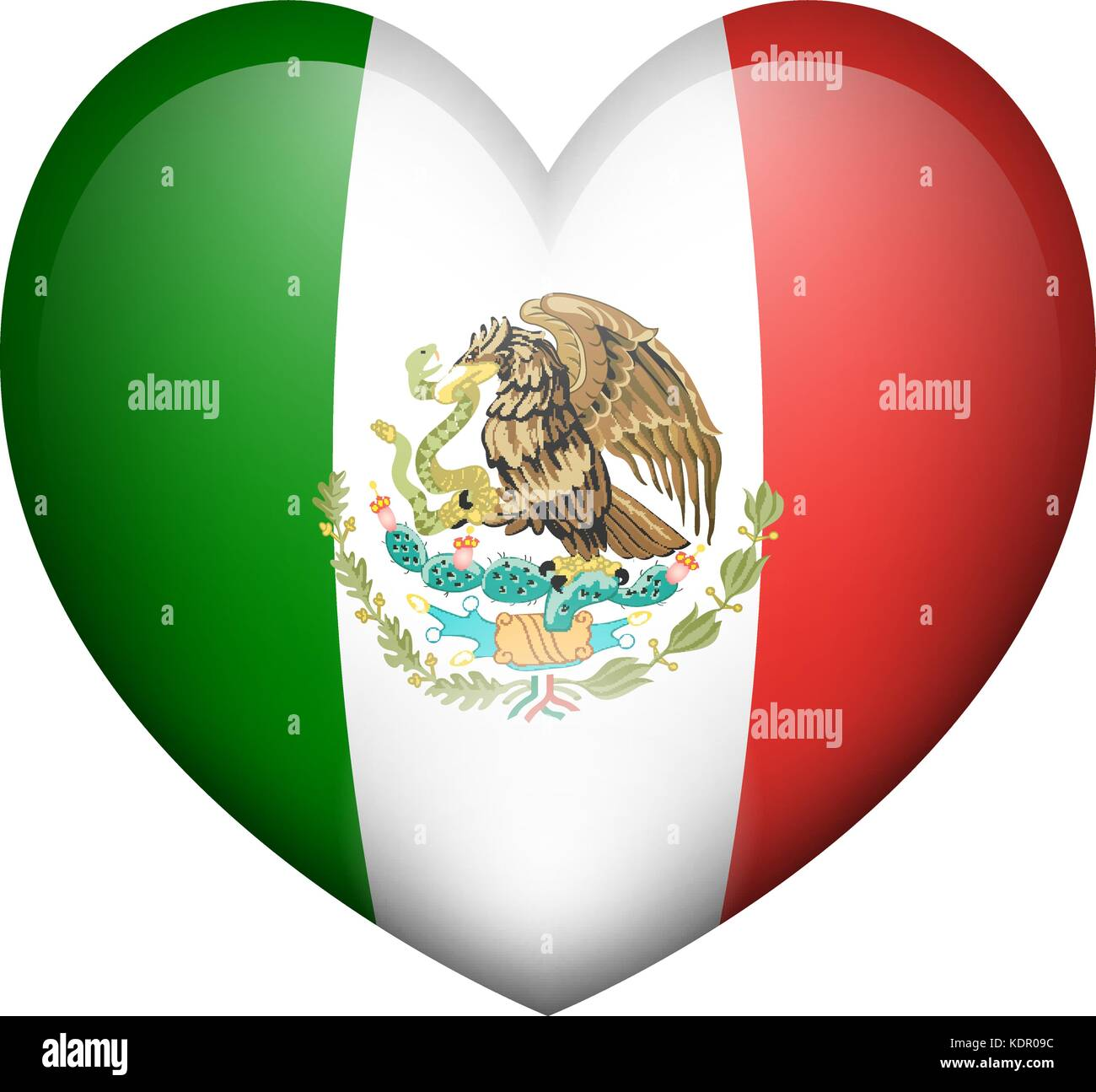 Mexico flag in heart shape illustration - Stock Image
