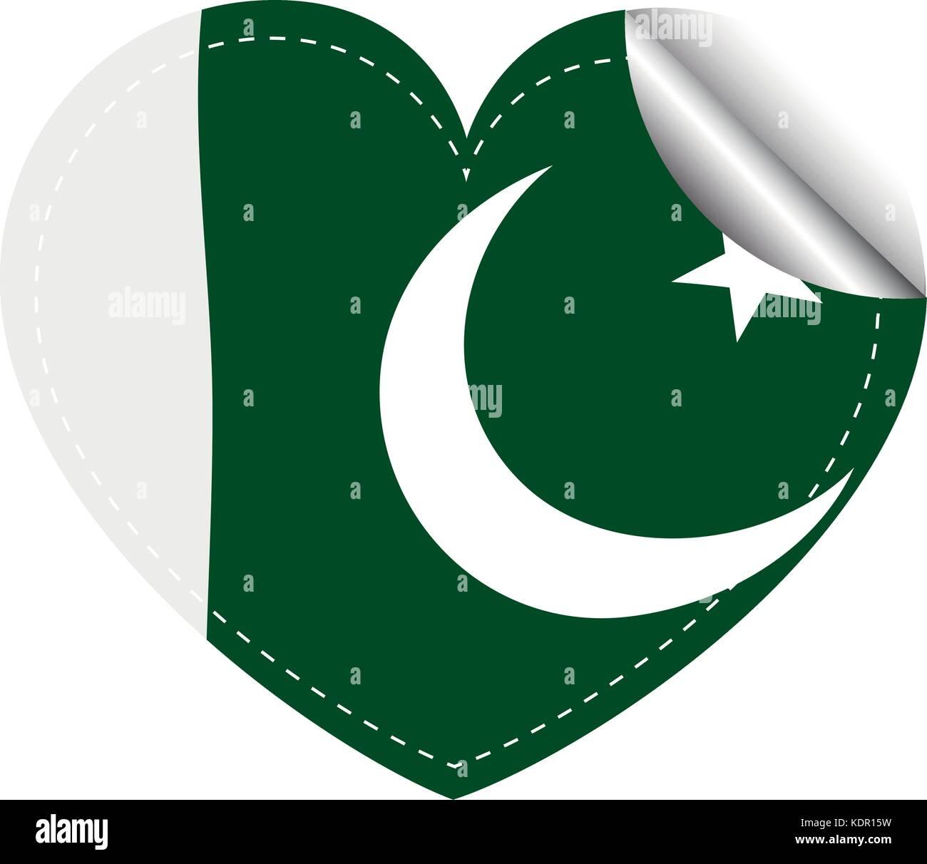 Sticker design for pakistan flag illustration