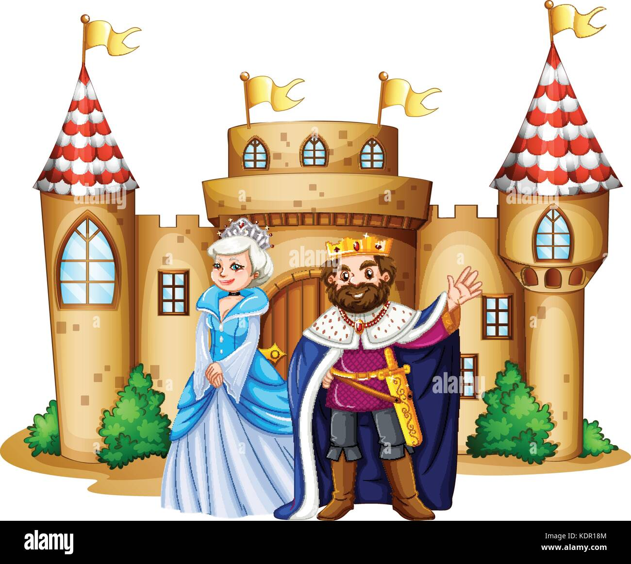 king and queen at the castle illustration stock vector art rh alamy com king and queen crowns clipart homecoming king and queen clipart