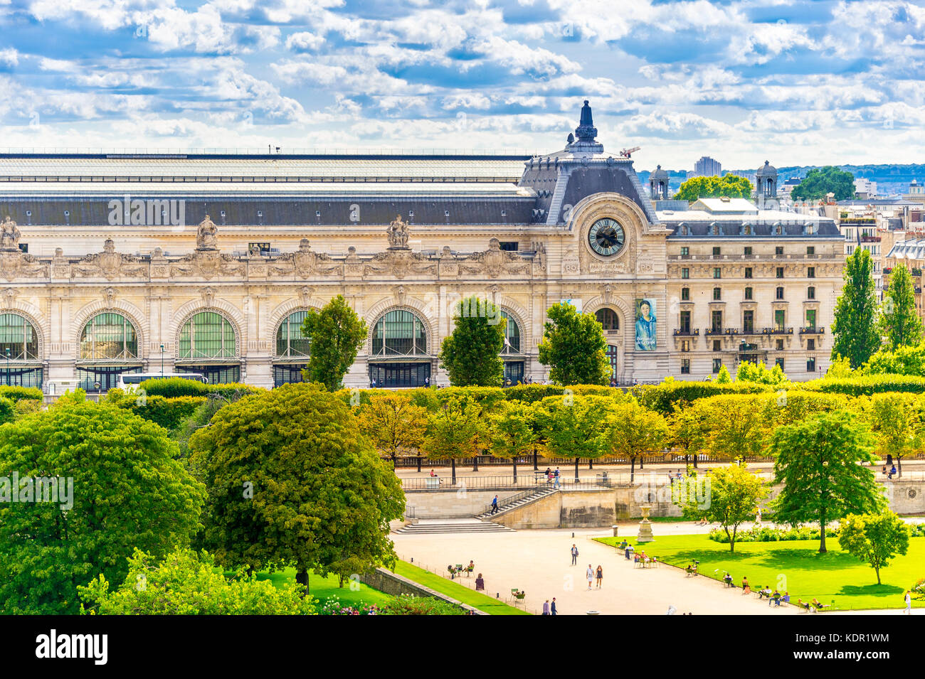 View of the Musee D'Orsay from the Tuileries Garden in Paris, France - Stock Image